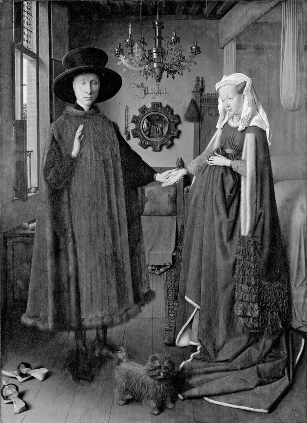 Eyck, Jan van (c. 1390-1441): Portrait of Giovanni(?) Arnolfini and his Wife, 1434. London, National...