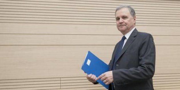 Il Governatore della Banca d'Italia, Ignazio Visco, durante la cerimonia di intitolazione del Centro...