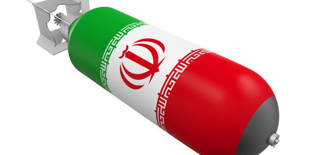 Atomic Bomb with Iranian Flag isolated on white background. 3D