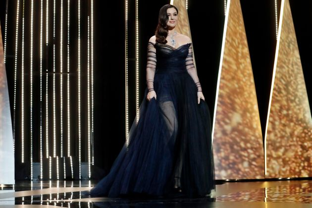 Ceremony host Monica Bellucci arrives on stage during the opening ceremony of the 70th international...