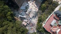 Il palazzo sbriciolato dal terremoto nelle impressionanti immagini riprese dal