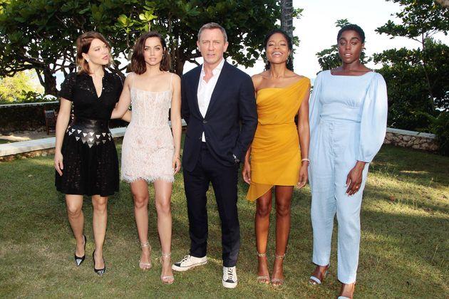 (l-r) Lea Seydoux, Ana de Armas, Daniel Craig, Naomie Harris and Lashana