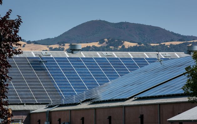 GEYSERVILLE, CA - AUGUST 1: A rooftop array of solar panels is viewed at Clos du Bois Winery on August...