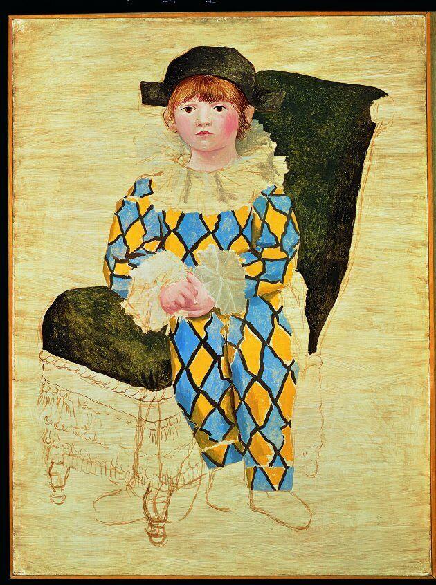 Paul en Arlequin [Paolo vestito da Arlecchino], 1924Olio su tela,130 x 97,5 cm Musée national Picasso-Paris,...