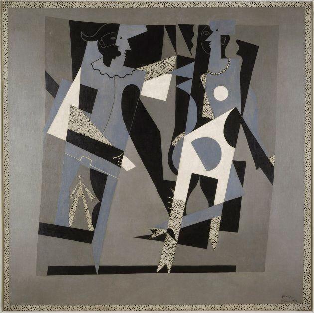 Arlequin et femme au collier [Arlecchino e donna con collana], 1917Olio su tela, 200x 200cmMusée National...