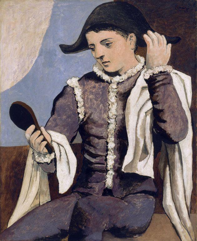 Arlequin au miroir [Arlecchino con specchio], 1923Olio su tela,100 x 81cmMadrid, Museo