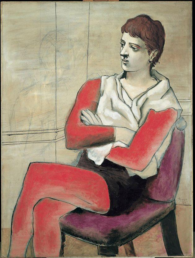 Saltimbanque assis, les bras croisés [Saltimbanco seduto con braccia conserte],1923Olio su tela,130,5...