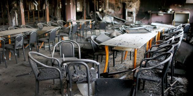 General view of the library of the University of Mosul burned and destroyed during the battle with Islamic...