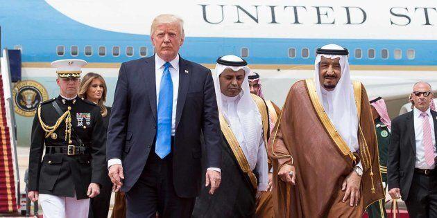 Saudi King Salman Bin Abdelaziz (or Abdul Aziz) Al Saud (right) receives US President Donald Trump and...
