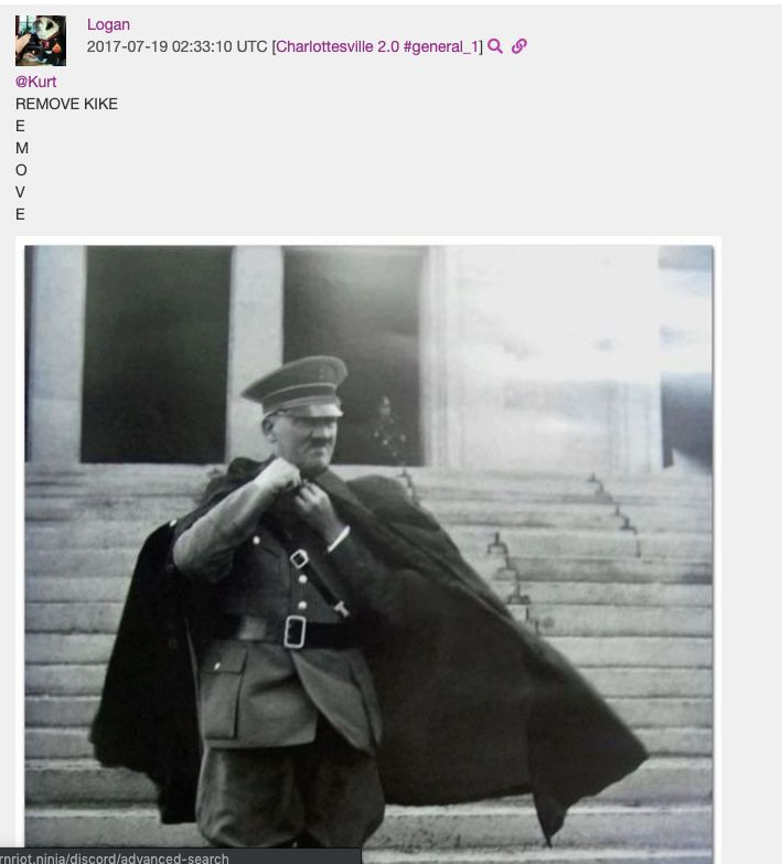 A post Logan Piercy made to the Charlottesville 2.0 Discord server.