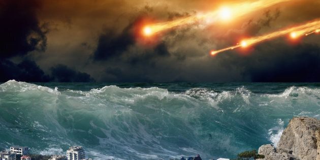 'Apocalyptic background - giant tsunami waves, small coastal town, city, asteroid