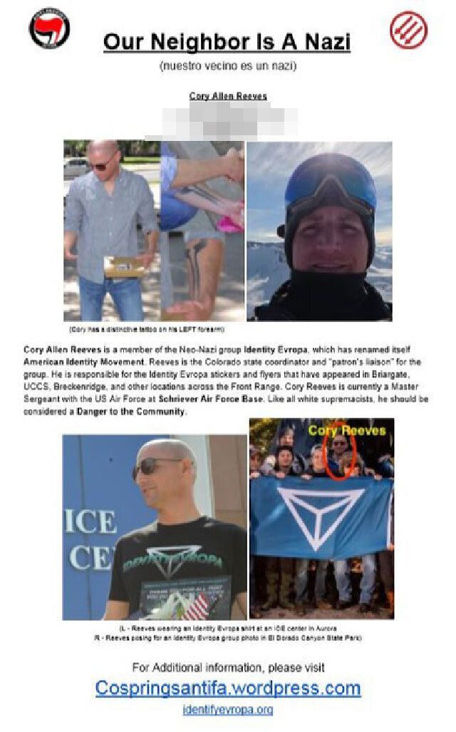An anti-fascist poster warning Colorado Springs residents that their neighbor is a white nationalist.