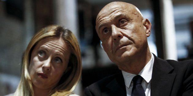 Giorgia Meloni con il ministro dell'Interno Marco Minniti
