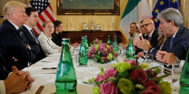 U.S. President Donald Trump (L) meets with Italy's Prime Minister Paolo Gentiloni (R) at Villa Taverna...
