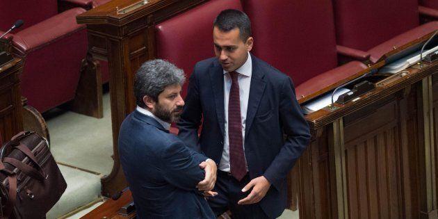 Luigi di Maio (d) e Roberto Fico (s) durante la discussione sulla riforma della legge elettorale alla...