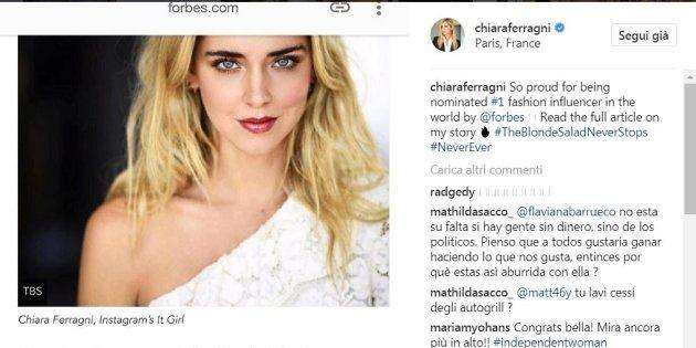 Forbes incorona Chiara Ferragni fashion influencer più importante del