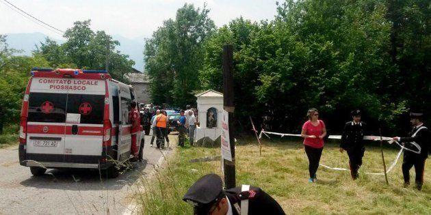 Il luogo del grave incidente durante il Rally Citt� di Torino a Coassolo. All'altezza di una curva,...