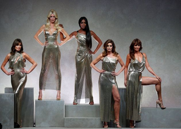 Former top models Carla Bruni (L), Claudia Schiffer, Naomi Campbell, Cindy Crawford and Helena Christensen...