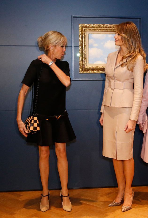 U.S. first lady Melania Trump and France's first lady Brigitte Trogneux visit the Magritte Museum in...