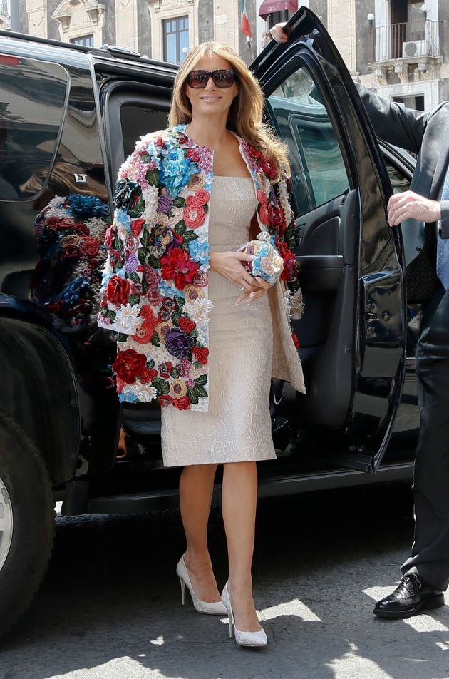 FILE - In this Friday, May 26, 2017 file photo, US first lady Melania Trump steps out of a car as she...