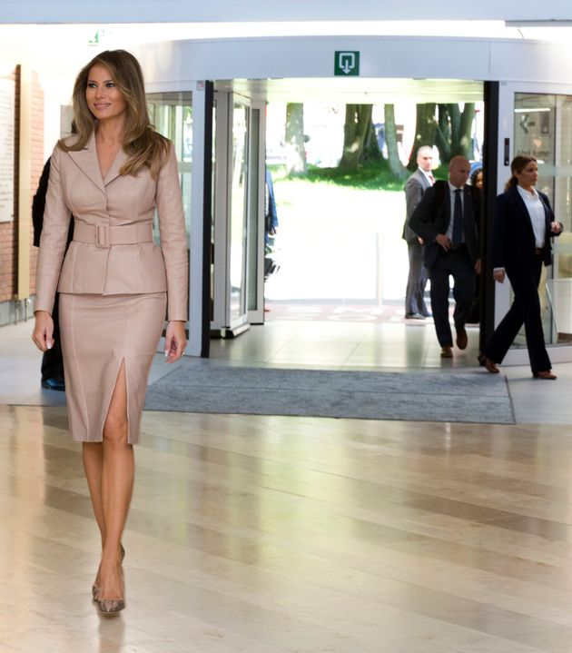 FILE - In this Thursday, May 25, 2017 file photo, US first lady Melania Trump, arrives at the Queen Fabiola...