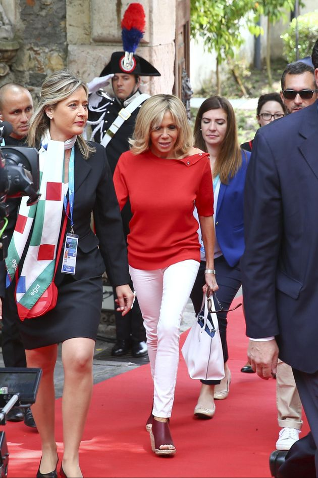 French president Emmanuel Macron's wife Brigitte leaves the San Domenico Palace hotel, the venue of the...