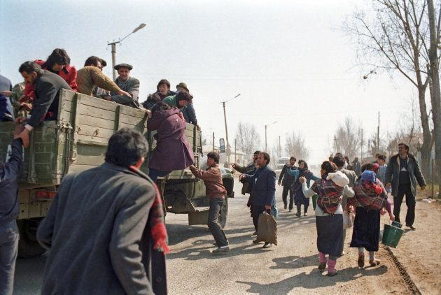 Nagorno-Karabakh. The situation in the region is still tense. People leave Agdam City. Photo ITAR-TASS...
