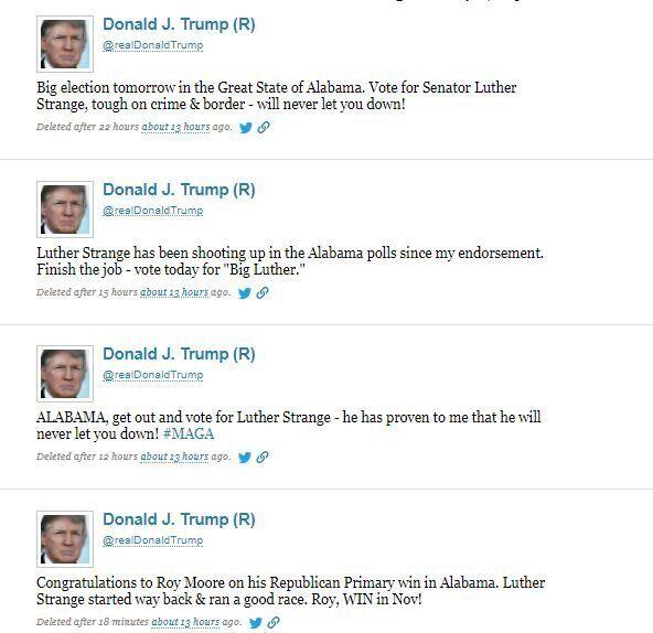 Tweet a raffica a sostegno di un senatore in Alabama, ma quello perde e Trump cancella