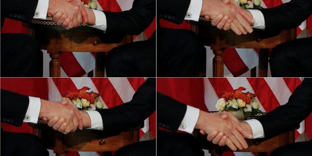 A combination photo shows U.S. President Donald Trump (L) trying twice to let go of a handshake with...