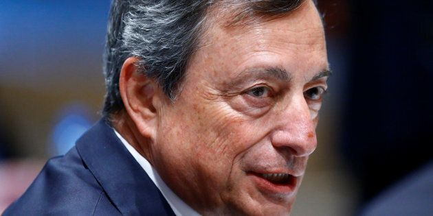 European Central Bank (ECB) President Mario Draghi attends a ceremony to receive the Gold Medal of the...