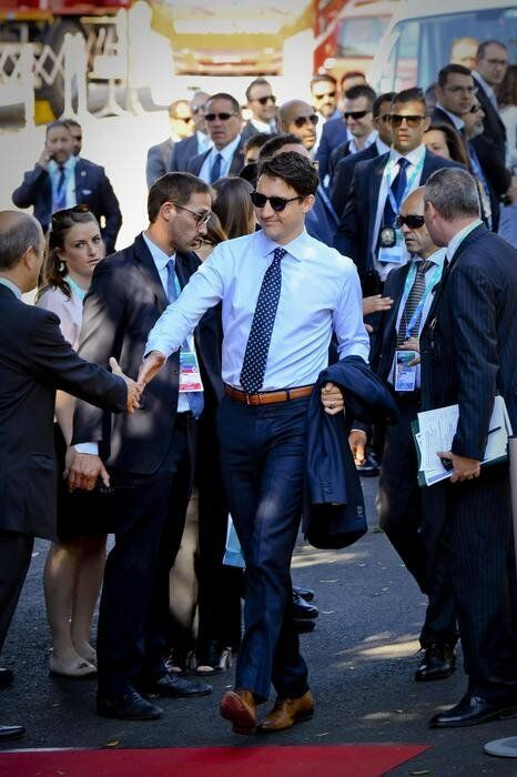 Canadian prime minister Justin Trudeau arrives for a working session during the second day of G7 summit...