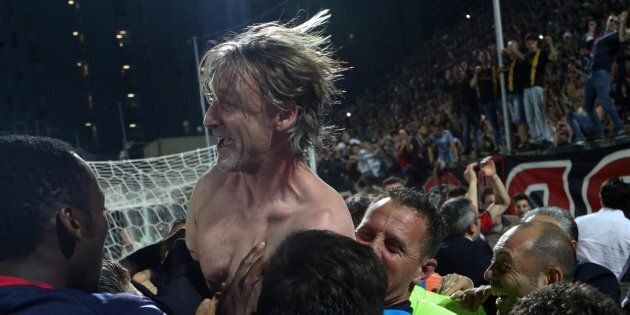 Crotone's head coach Davide Nicola celebrates the victory, the salvation and the permanence in the Italian...