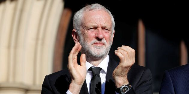 Jeremy Corbyn, the leader of Britain's opposition Labour Party, takes part in a vigil for the victims...