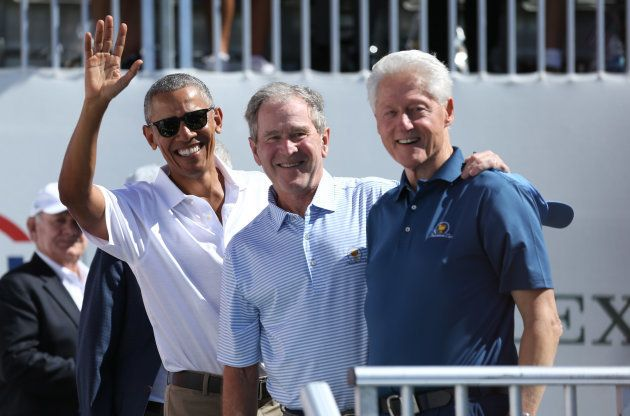 Sep 28, 2017; Jersey City, NJ, USA; Former U.S. Presidents (from Left) Barack Obama and George W. Bush...