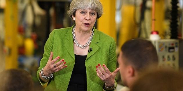Britain's Prime Minister Theresa May speaks during a Q&A at Cross Manufacturing Company in Odd Down in...