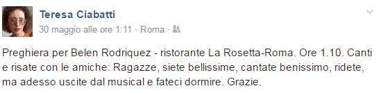 Teresa Ciabatti contro Belen Rodriguez: