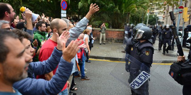 People have begun to vote on the referendum of Catalonia when state and riot police intervened brutally...