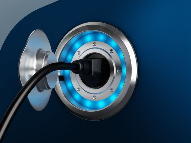 3D Image showing power connector. Recharging electric car.Full CGI image made by my