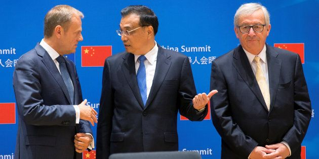 (L-R) European Council President Donald Tusk, Chinese Premier Li Keqiang and EU Commission President...