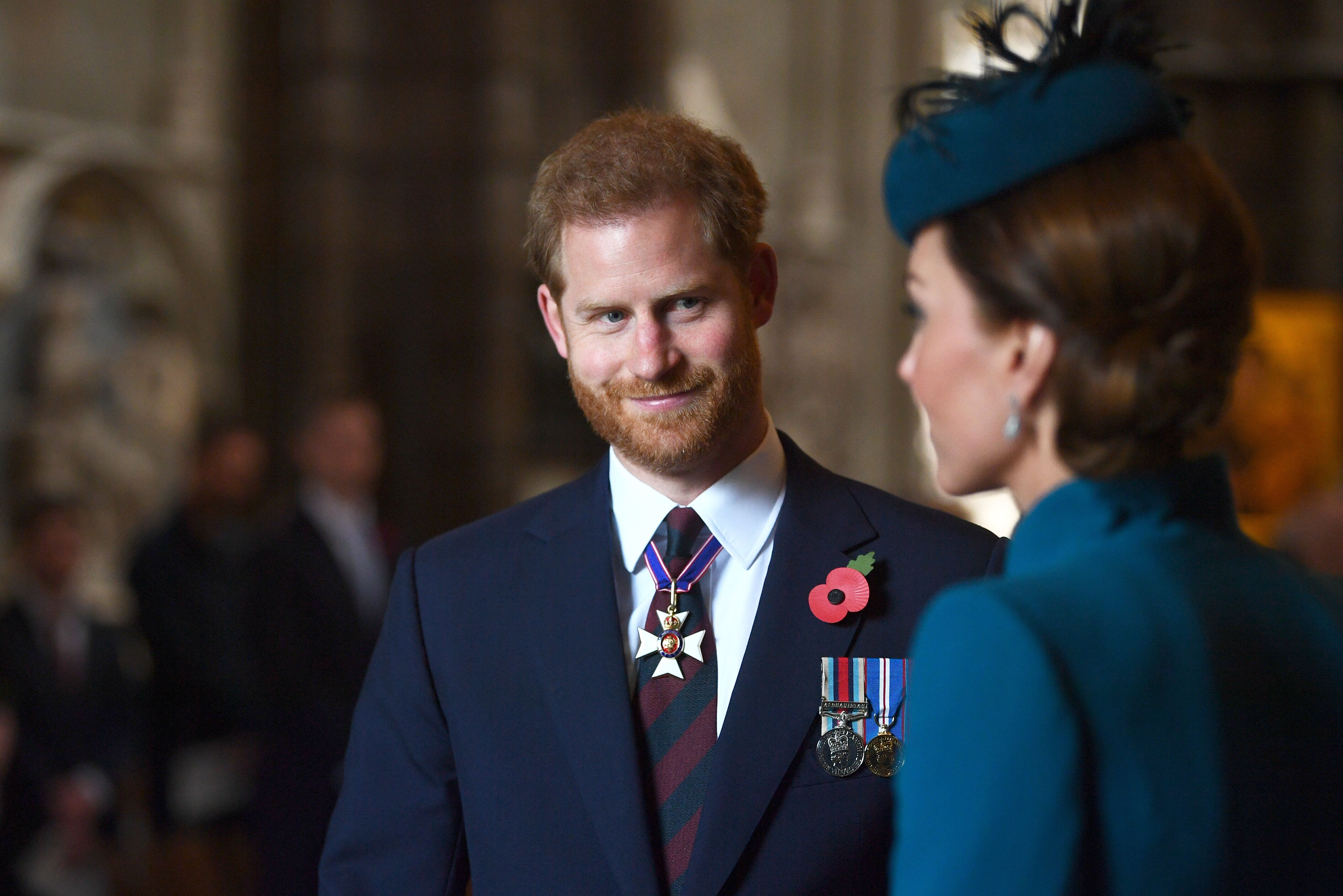 LONDON, ENGLAND - APRIL 25: Catherine, Duchess of Cambridge and Prince Harry, Duke of Sussex attend the ANZAC Day Service of Commemoration and Thanksgiving at Westminster Abbey on April 25, 2019 in London, United Kingdom. (Photo by Victoria Jones - WPA Pool/Getty Images)