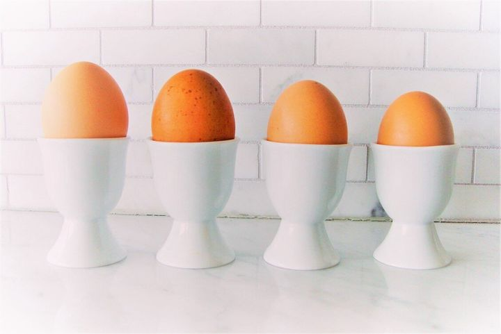 Left to right: jumbo, extra-large, large and medium eggs.