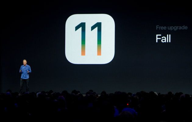 Greg Joswiak, Vice President of iPod, iPhone, and iOS Product Marketing for Apple speaks on stage at...