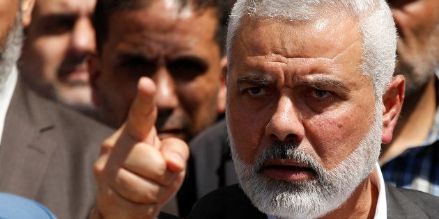 Hamas Chief Ismail Haniyeh gestures during a news conference in Gaza City May 11, 2017. REUTERS/Mohammed