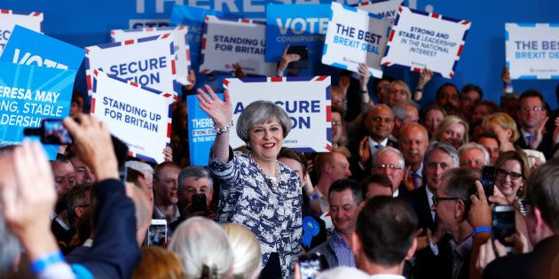 Britain's Prime Minister Theresa May speaks at an election campaign event in Solihull, June 7, 2017....