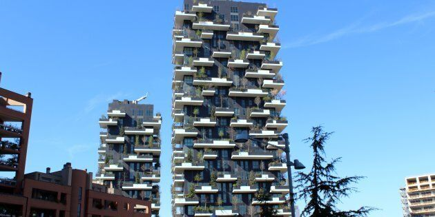Milan, Italy - March 28, 2015: Upward view of Bosco Verticale (Vertical Forest). Architectural detail,...