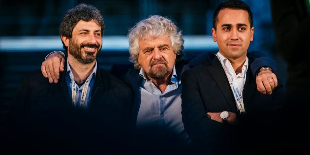 Activists of the Five Star Movement (m5s) Beppe Grillo (C), Luigi Di Maio (R), Roberto Fico (L) gather...