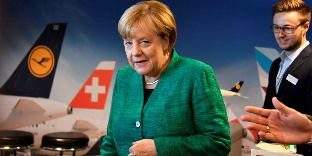 German Chancellor Angela Merkel arrives to a meeting of her conservative CDU's youth organization, the...