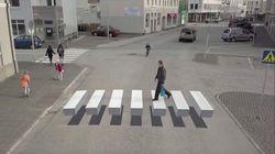 Le strisce pedonali in 3D in Islanda per far rallentare gli