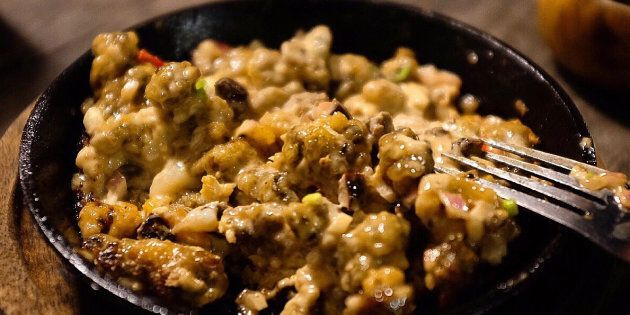 Sisig In Plate On Cutting