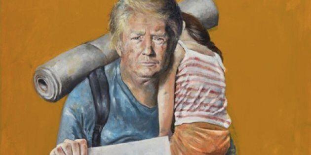 Da potenti a ultimi: l'artista siriano in esilio a Bruxelles dipinge i leader del mondo come rifugiati...